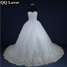 Buy QQ Lover 2018 Luxury Flowers Beaded Long Train Wedding Dress Bridal Wedding Gown Vestido De Noiva for $95.46 in AliExpress store