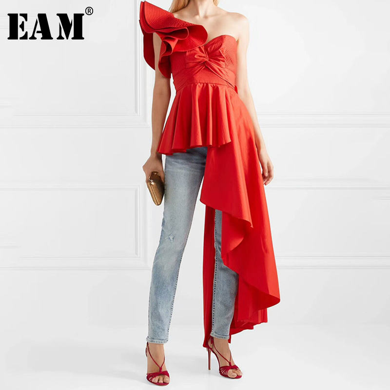 [EAM] 2019 Spring Summer Woman Sexy New Solid Color Sleeveless High Tight Waist Slash Neck Pleated Spliced Irregular Shirt LE930
