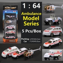 1:64 DIY Alloy Ambulance Model Series Truck/Cars/Airplane/Helicopter model simulation model Educational toy for Best Gift