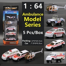 1:64 DIY Alloy Ambulance Model Series Truck/Cars/Airplane/Helicopter model simulation model Educational toy for Best Gift(China)