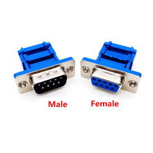 20PCS D-SUB 9-pin DB9 Female/Male IDC crimp adapter plug for ribbon cable Blue(China)