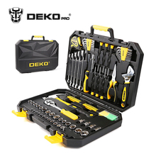 DEKOPRO TZ128 Socket Wrench Tool Set Auto Repair Mixed Tool Combination Package Hand Tool Kit with Plastic Toolbox Storage Case(China)