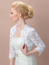 White Tulle Lace Appliques Women Bolero Wedding Jacket 3/4 Sleeves Bridal Shawl Scarves Wrap Accessoires