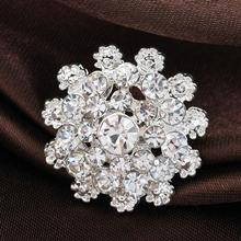 Fashion Bridal Bouquet Fine Jewelry Flower Brooch Pin Silver Rhinestone Crystal Brooches For Women Wedding YBRH-0212