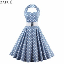 ZAFUL Women Plus Size S~4XL Vintage Swing Dress Stretchy Cotton Sleeveless Halter Belts Rockabilly Prom Party Feminino Vestidos
