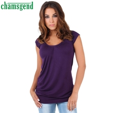 CHAMSGEND Good Deal Fashion  Women Sleeveless Solid Casual Shirt Tops Long T-Shirt Clothes 1PC_U00442
