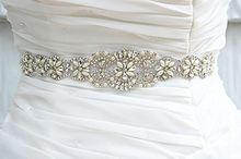 Luxry Handmade Bridal Sash Belt Crystal Pearl Rhinestone Wedding Jeweled Sash Belt