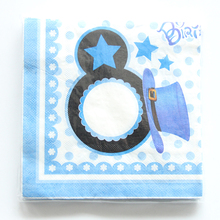 20pcs/lot blue Mickey Paper Napkins for Happy Birthday Party Cartoon Napkin Kids Favors Decoration Supplies(China)