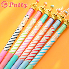 6 pcs/Lot Luxury crown ballpoint pen Color stripe ballpen pens zakka Stationery canetas material escolar school supplies F233(China)