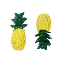 "DoreenBeads Zinc Based Alloy 3D Charms Pendant Pineapple/ Ananas Fruit Yellow Green Painting 22mm( 7/8"") x 9mm( 3/8""), 10 PCs"