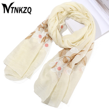 [NTNKZQ]14 Colors 180*80cm Flower Embroidered Scarves and Wrap Women Winter Autumn Soft long Shawls foulard femme hijab(China)