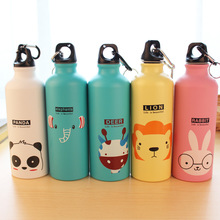 Animal Cartoon Family Sports Water Bottles Portable Bottles Aluminum Carabiner Metal Kettle Cute Kids Gifts 400 ml Adorable(China)