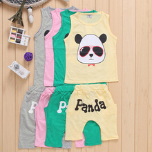 10SETS NEW ARRIVAL kids boy summer cool cloth set printing CARTOON vest+casual middle pants suit baby CHILDREN boy clothing set