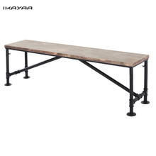 iKayaa US FR Stock Antique Natural Pinewood Top Kitchen Dining Table Bench Metal Frame Patio Outdoor Bench 63*13.7*17.7inch