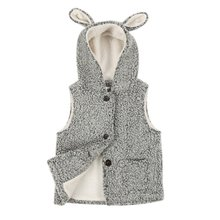 grey Lovely baby girl rabbit ears wool volume plushvest cardigan vest For kids girl/boy Lovely J2