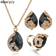 MissCyCy 5 Colors Water Drop Crystal Necklace Ring Earrings Women Fashion Gold Color Peacock Jewelry Set
