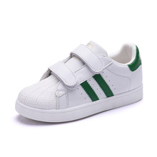 Hot Sale Super star Boys and Girls Sport Shoe Hook&Loop Casual Shoe for Kids Zapatillas de Ninos Mejor Calidad Blancos