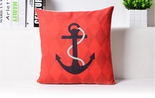 Concise Red Anchor Voyage Sea Decorative Pillow Cover Euro Pillows Travel Emoji Home Decor Vintage Gift