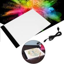 AMZDEAL Ultra Thin A4 Practical LED Light Pad Art Stencil Touch Board Copy Painting Drawing Tablet Table Pad Digital Tablet(China)