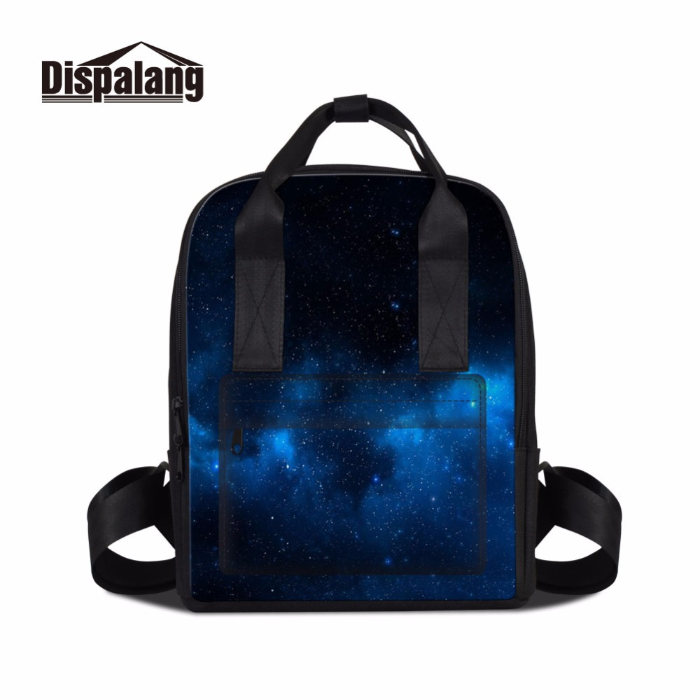 Dispalang starry galaxia trendy women casual backpack multifunction mummy shoulder bag for stroller mom stylish totes baby bag<br>