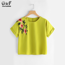 Dotfashion Yellow Flower Embroidered Cuffed Sleeve Blouse Summer Round Neck Short Sleeve Cute Blouse Women Casual Tops(China)