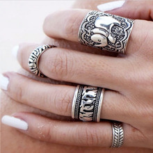 4pcs/Set Boho Vintage Punk Ancient silver Elephant Finger Rings For Women /Men Bohemian Ring Set  Beach Anillo tribe Jewelry