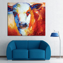 100%Free Shipping Hand Painted Animal Oil Painting Fat Cow Abstract on Canvas Art Work Home Decoration