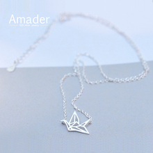 New 925 Sterling Silver Refinement Paper Cranes Short Necklaces & Pendants For Women Simple Sterling Silver Jewelry Collier
