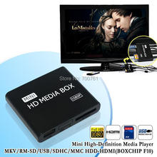 10pcs New mini Media Player 1080P Full HD multimedia player with IR remote support MKV/RM-SD/USB/SDHC/MMC HDD-HDMI(BOXCHIP F10)