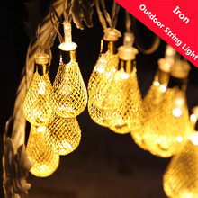 LED String Light LED Lamp Iron Water Drop Lantern Ball Fairy String Rope for Home Party Decoration Christmas Tree