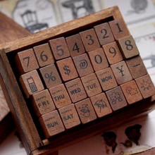 28pcs/set  Romantic Design Digital weather Retro Vintage Wooden Craft Box Alphabet Stamp Rubber Stamp Set