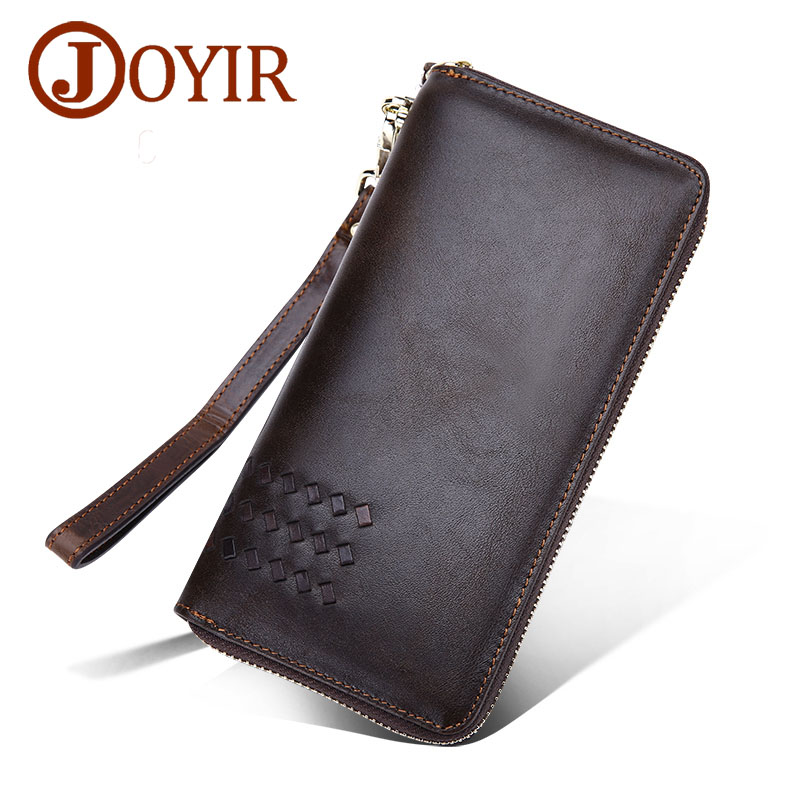 JOYIR New Genuine Cowhide Leather Men Long Knitting Wallet Vintage Zipper Business Purse Wallet for Male Large Man Handbag 9345 <br>