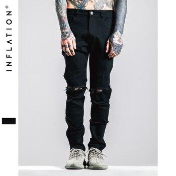 L'INFLATION Hommes De Mode Solide Couleur Droite Déchiré Jeans 2016 Denim Salopette Biker Homme Jeans Jeans Glissière Latérale Livraison Gratuite
