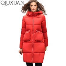 QIUXUAN Winter Warm Thicken Long Parkas 2017 Fashion Slim Hooded Cotton Padded Jacket Big Pocket Women Coat Zipper Basic Tops