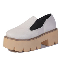 COOTELILI Brand Women Creepers Platform Shoes Woman Soft Leather Slip on Pumps High Heels Wedge Ladies Shoes