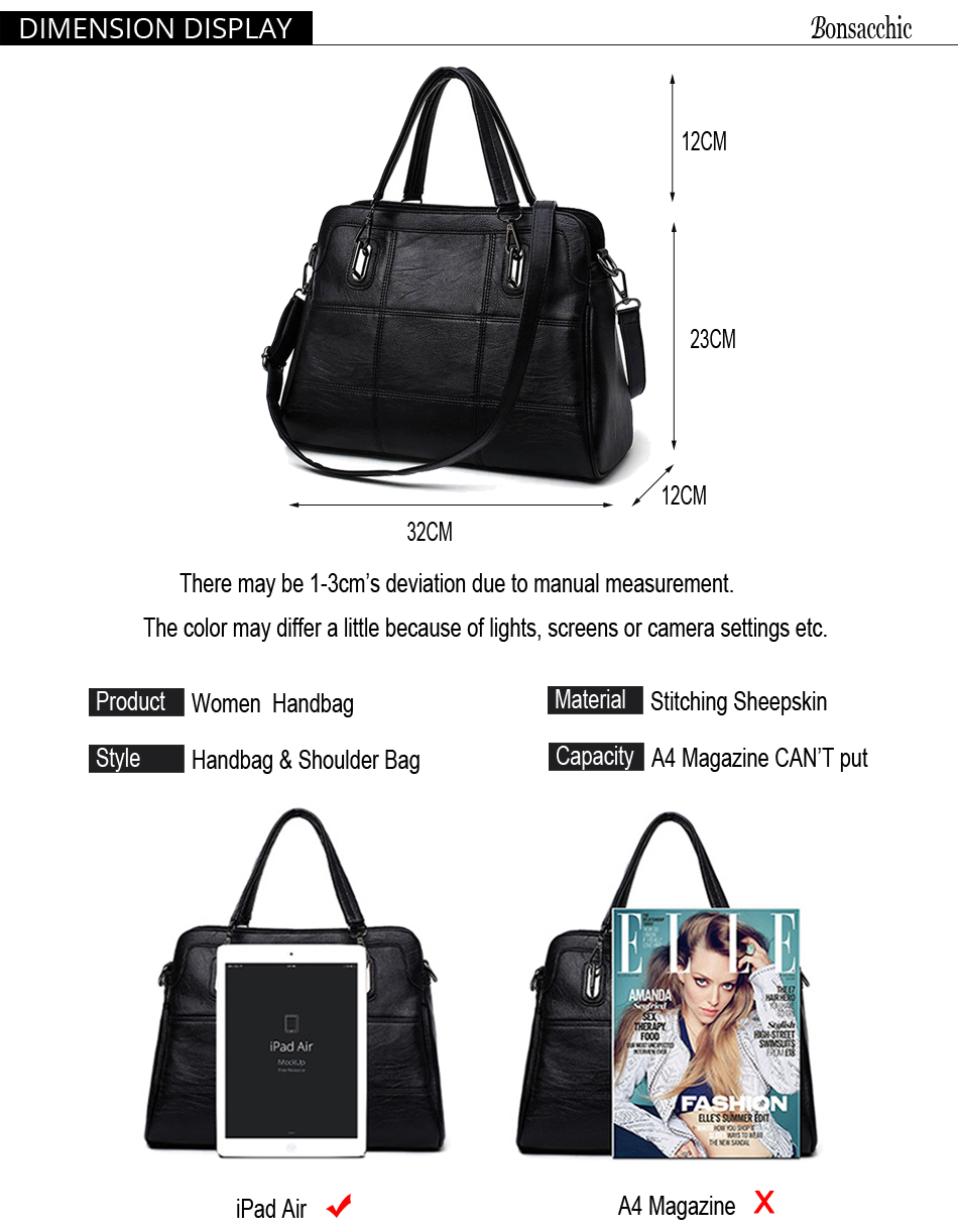 Bonsacchic Fashion Ladies Hand Bag Women's Genuine Leather Handbag Black Leather Tote Bag Bolsas femininas Female Shoulder Bag 1