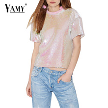 New Arrival Summer women PINK sequin T-shirt 2017 High quality gorgeous shirt for girls plus size women clothing sequined Top(China)
