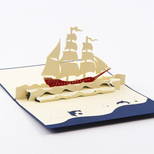 3D pop up laser cut greeting post cards for holiday birthday vintage kirigami origami with envelope thank you Sailing Boat 4001