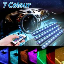 4Pcs 5050 9 SMD 10W LED RGB Car Auto Interior Floor Decorative Atmosphere Strip Pathway Deco Floor Light Remote Control DC12V(China)