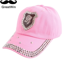 women woman girl cheap promotion beauty baseball cap rhinestone floral logo luxury otudoor casquette outdoor denim snapback hat(China)