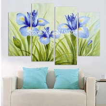 Frameless Tableau 4 Pcs Artist Canvas orchid painting Flower Prints Wall Pictures for Living Room Modular Picture Canvas Art