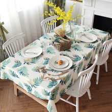 Jo's warm Swaying Table Cloth Tropical Plant Round Rectangle Coffee Dining Decor Cover Polyester Faux linen Print Tablecloth