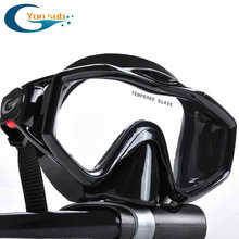 silicone tempered glass professional Scuba  Diving Equipment Diving Mask + Dry Snorkel Set black