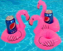 2pcs Baby Bath Toys Flamingo Floating Inflatable Bottle Drink Can Phone Holder For Swimming Pool Bathing Beach Party Suppliers(China)