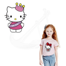 Hello Kitty child stickers 20*28CM iron on patch T-shirt Sweater thermal transfer paper Patches for clothing