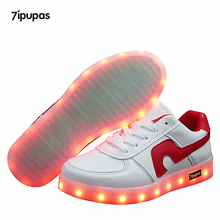 7ipupas Children USB Charging Luminous Sneakers 11 color Red Hook led shoe girls boys glowing sneakers casual kids light up shoe