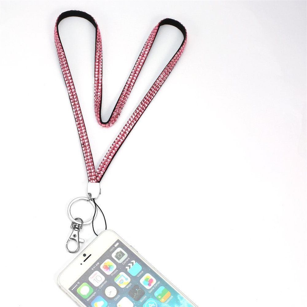 Crystal Glimmering Rhinestone Crystal Bling Custom Neck Lanyard & ID Badge Cellphone Key Holder Ring Drop-shipping(China (Mainland))