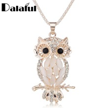 Stylish Gallant Sparkling Owl Crystal Charming Flossy Necklaces & Pendants Necklace For Women M099(China)