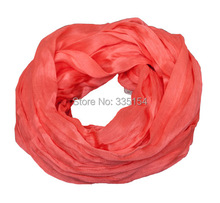 2015 Spring Women Silk Viscose Infinity Scarf Crinkle Soft Cotton Snood Round Circle Scarf 20colors 10Pcs/Lot(China)