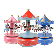 Hot Toy Musical Instrument Toy Wooden Merry-Go-Round Music Box Christmas Birthday Gift Carousel Music Box FCI#